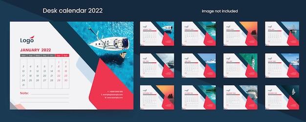 Limpe o calendário de mesa 2022 com elementos criativos
