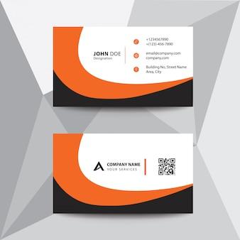 Limpe o cartão de visita da empresa do preto da onda do preto do projeto liso alaranjado