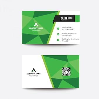 Limpe o cartão de visitas do negócio do poli do projeto liso verde baixo