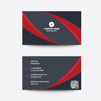 Limpe o cartão empresarial preto vermelho mínimo liso moderno