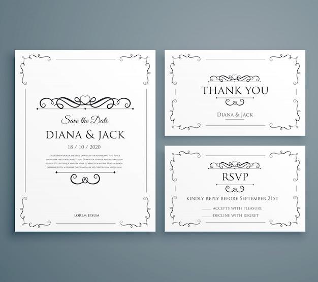 Limpe o convite do casamento thankyou card save the date template design
