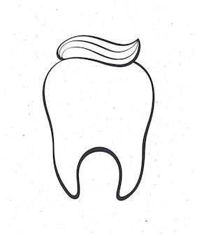 Limpe o dente humano saudável com pasta de dentes. ilustração em vetor de contorno