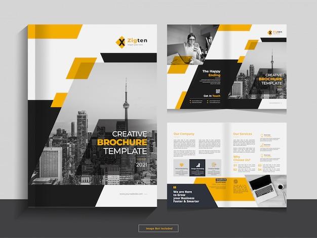 Limpe o modelo de design de brochura comercial de dobra bi corporativa em formato a4.