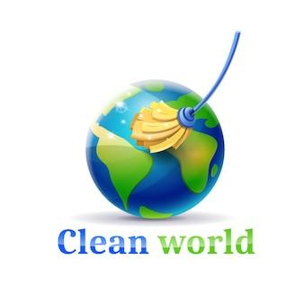 Limpe o mundo da poluição e do lixo
