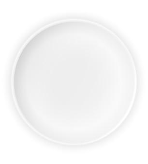 Limpe o prato de caldo do prato vazio no branco