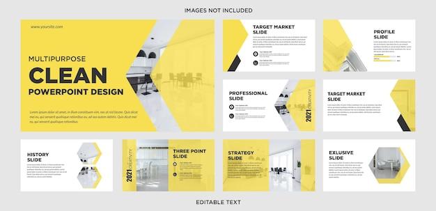 Limpe o slide de design de apresentação multifuncional