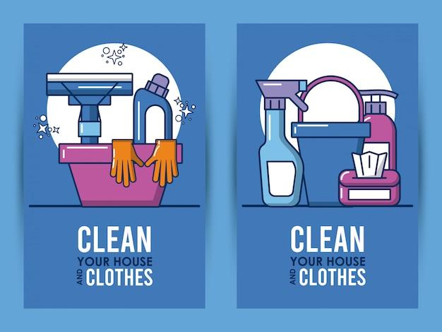 Limpe sua casa e as letras de roupas com equipamentos