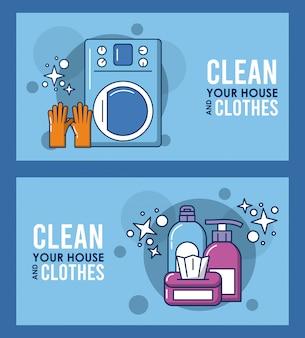 Limpe sua casa e letras de roupas com design de ilustração de equipamento