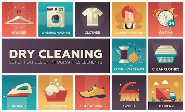 Limpeza a seco - conjunto de elementos de infográficos de design plano. coleção de ícones de alta qualidade. cabide, máquina de lavar, roupas, trabalhador da lavanderia, pontualidade, conserto de sapatos, engomadoria, molhado, entrega