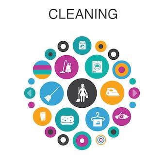 Limpeza conceito de círculo infográfico. elementos smart ui vassoura, lata de lixo, esponja, lavagem a seco