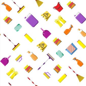 Limpeza conjunto padrão sem emenda. frasco de detergente, esponja, sabonete, luvas de borracha. balde, mop, pá de lixo de vassoura. acessórios para lavar louça, limpeza doméstica, lavar louça. estilo simples de ilustração vetorial