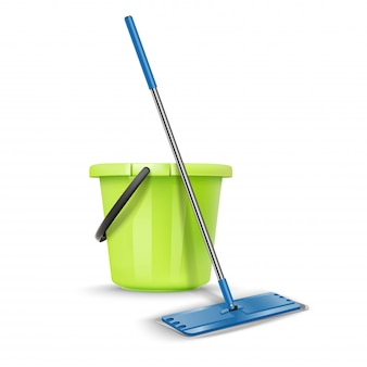 Limpeza cumprimentar balde com vassoura. isolado no branco