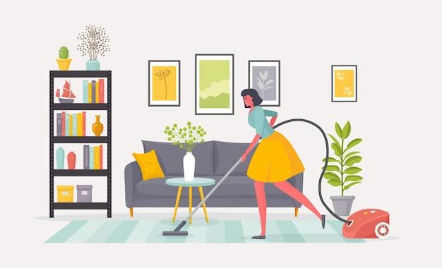 Limpeza da esposa do apartamento ou empregada limpa o carpete da sala de estar