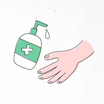 Limpeza das mãos com um caráter de solução à base de álcool