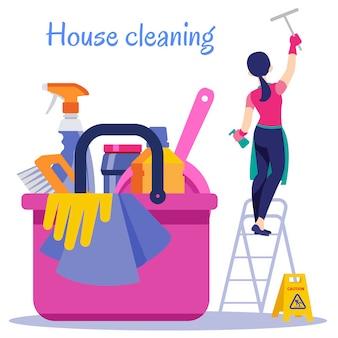 Limpeza de casa. ilustração do plano de serviço de limpeza.