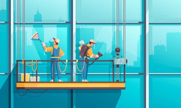 Limpeza de composição com vista de prédio alto e grupo de trabalhadores limpando janelas no palco suspenso