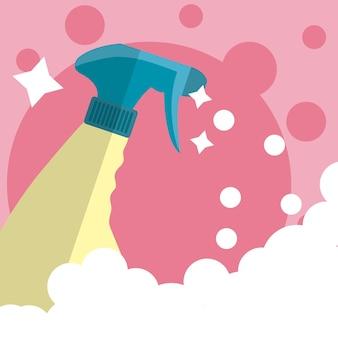 Limpeza de garrafa de respingo conceito de fornecimento de limpeza