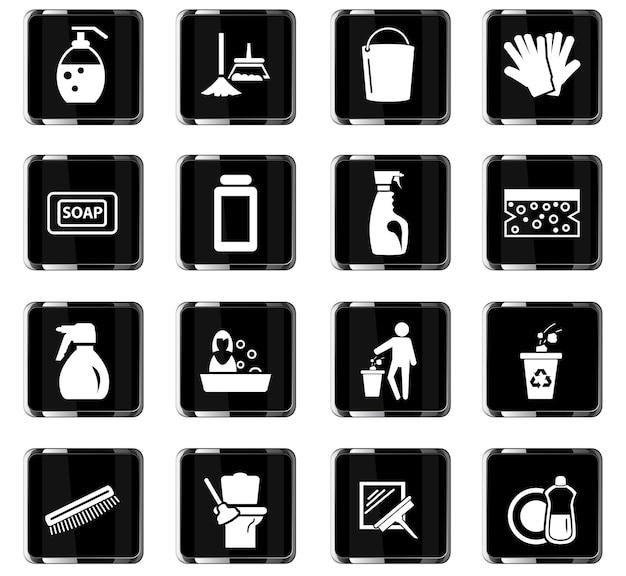 Limpeza de ícones de vetor de empresa para design de interface de usuário