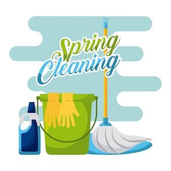 Limpeza de mola e luvas de limpeza