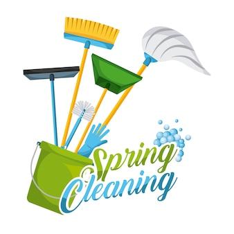 Limpeza de primavera, decoração e equipamento de ferramentas domésticas