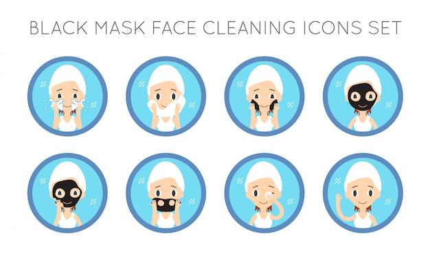 Limpeza de rosto de vetor e conjunto de ações de cuidados