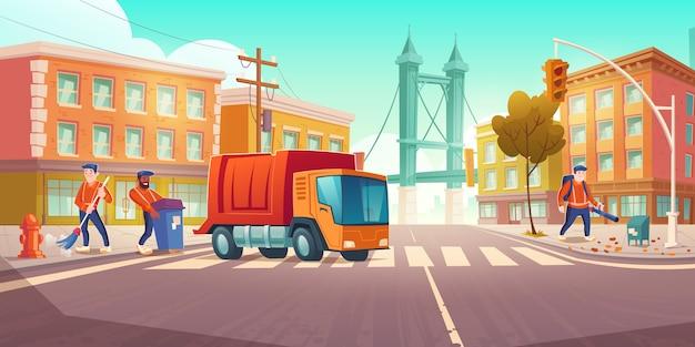Limpeza de ruas com caminhão de lixo e vassouras
