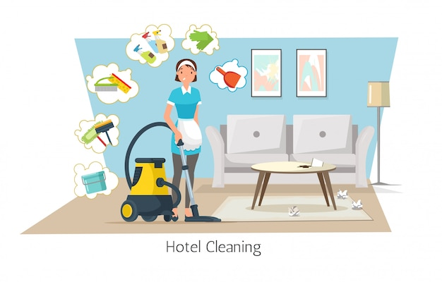 Limpeza do hotel, camareira vaccuming carpet no quarto.