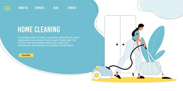 Limpeza doméstica. atividades domésticas. jovem mulher limpando o chão usando equipamento profissional, fazendo trabalhos domésticos. dever de limpeza, tarefas domésticas. rotina da vida diária. modelo de página de destino
