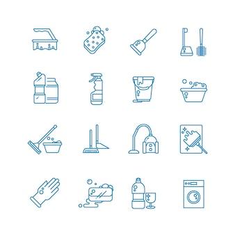 Limpeza e lavagem de ícones de contorno de casa.