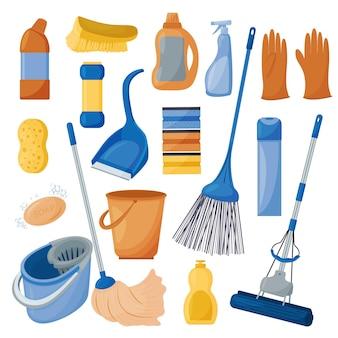 Limpeza um conjunto de ferramentas para limpar a casa isolado em um fundo branco