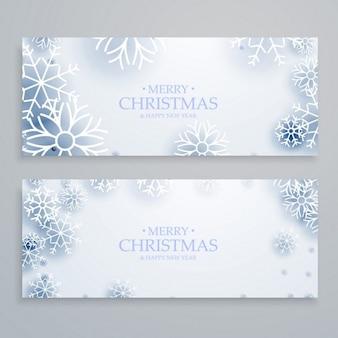 Limpos bandeiras do feliz natal brancos ajustados com flocos de neve