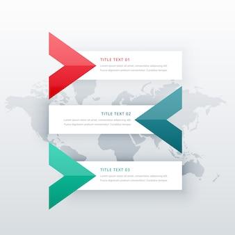Limpos três etapas opções infográfico modelo com forma de seta para diagramas de apresentação de negócios ou de fluxo de trabalho em estilo criativo