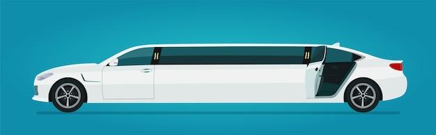 Limusine com vista lateral isolada da porta traseira aberta