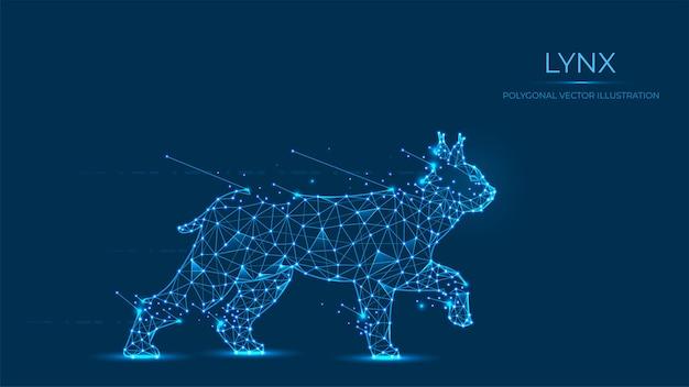 Lince poligonal abstrato feito de linhas e pontos isolados sobre fundo azul. ilustração de baixo poli de um gato selvagem