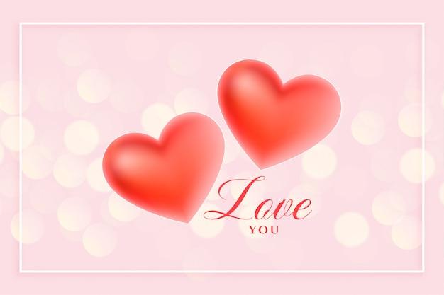 Linda 3d corações de amor em fundo rosa bokeh