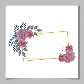 Linda aquarela feminina digital pintada à mão com design floral premium