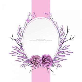 Linda aquarela floral e moldura rosa