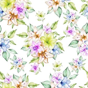 Linda aquarela floral padrão sem emenda