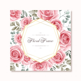 Linda aquarela floral rose flowers frame fundo multiuso