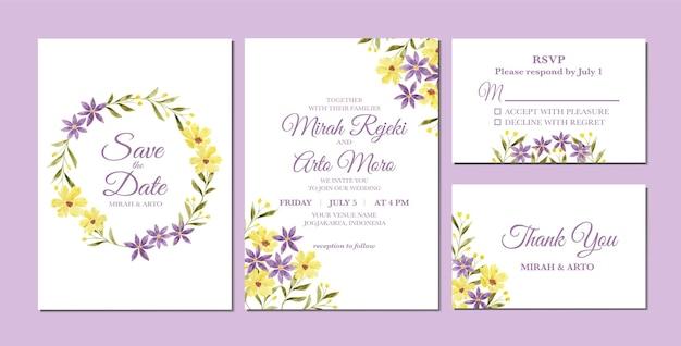 Linda aquarela floral roxa e amarela como modelo de convite de casamento