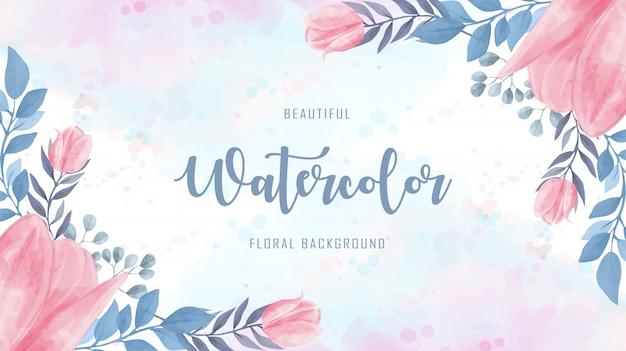 Linda aquarela flores floral azul fundo rosa