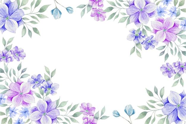 Linda aquarela moldura de flores coloridas