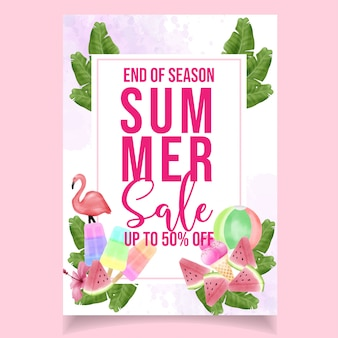Linda aquarela panfleto verão venda bandeira flamingo