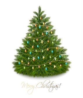 Linda árvore de natal decorada com guirlanda