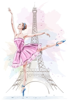 Linda bailarina posando e dançando no fundo da torre eiffel