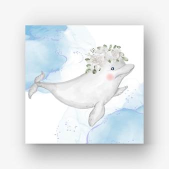 Linda baleia beluga com flor branca Vetor Premium