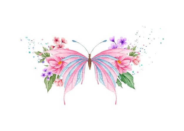 Linda borboleta e decoração floral ornamental