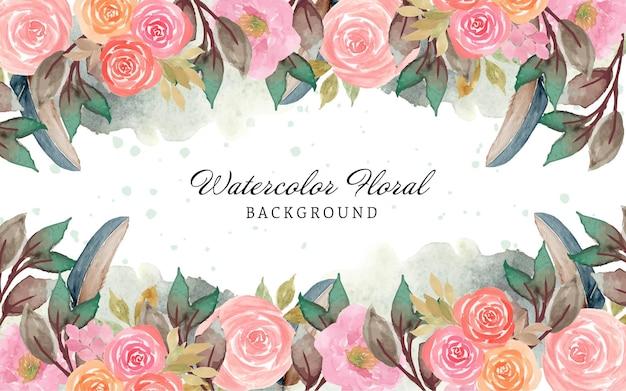Linda borda floral em aquarela rosa com pena e fundo abstrato