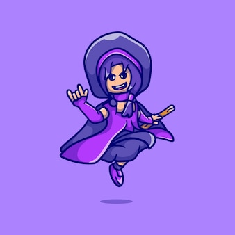 Linda bruxa de halloween fofa cavalgando uma vassoura voadora