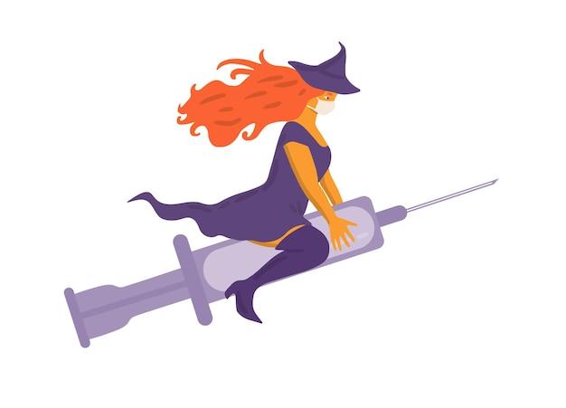 Linda bruxa ruiva e curvilínea voando em uma seringa em vez de vassoura e usando uma máscara facial